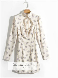 Vintage White Floral Print Cut out Bust Long Sleeve A-line Mini Dress SUN-IMPERIAL United States