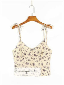 Vintage White Floral Slim Tie Cami Strap Purple Print Tank top Center Buttoned Crop SUN-IMPERIAL United States