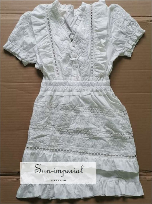 Vintage White Lace Decor Short Sleeve Mini Dress Mesh Embroidery Ruffled SUN-IMPERIAL United States