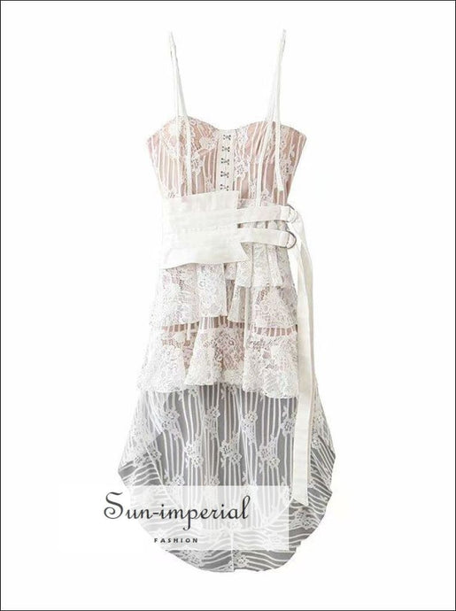Vintage White Lace Dress Cami Strap Belted Dress Slim Dress