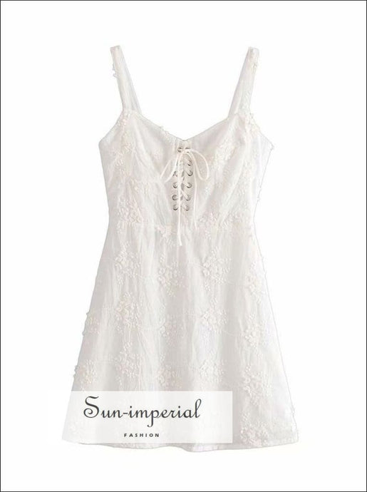 Vintage White Lace Embroidery Decor Cami Strap Summer Mini Dress SUN-IMPERIAL United States