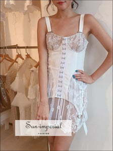 Vintage White Lace Sleeveless High Waist Slim Mini Dress SUN-IMPERIAL United States