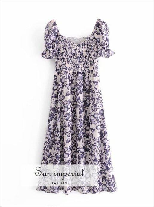Vintage White Purple Floral Print front Split Short Sleeve Midi Dress with Elastic back bohemian style, boho vintage nidi floral dress,