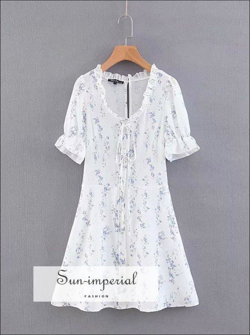 Vintage White Ruffles Decor Mini Floral Print Short Sleeve Tie Bust Summer Dress SUN-IMPERIAL United States
