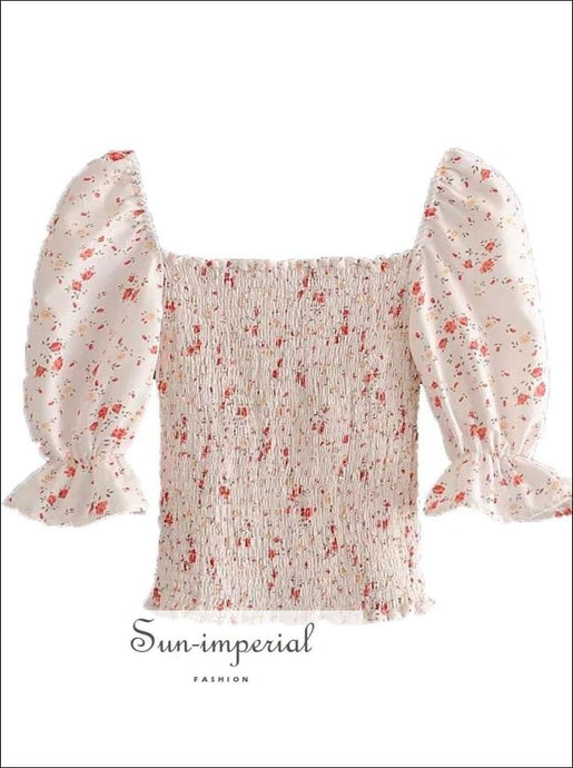 Vintage White Shirred Red Floral Print top with Half Flare Sleeve Square Collar Women Blouse chick sexy style, vintage style SUN-IMPERIAL