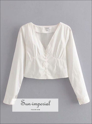 Vintage White Solid Long Sleeve Buttoned V Neck Women Blouse SUN-IMPERIAL United States