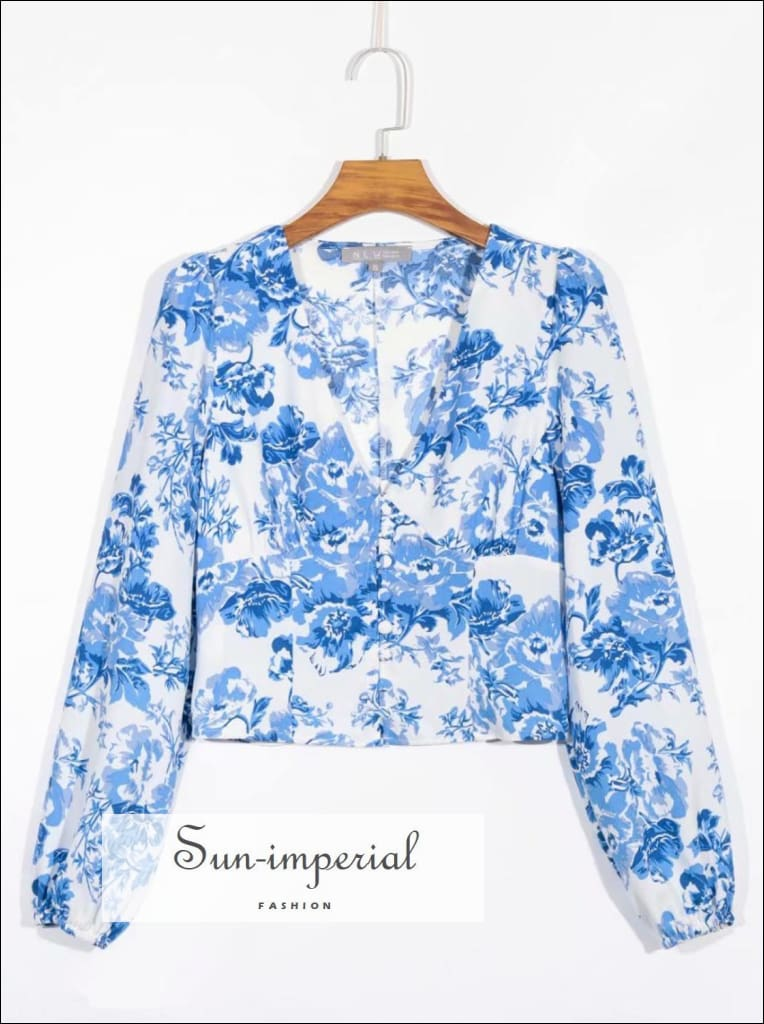 Vintage White with Blue Floral Print Long Sleeve Buttoned V Neck Women Blouse SUN-IMPERIAL United States