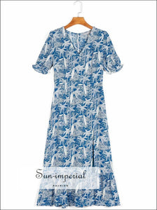 Vintage White with Blue Floral Print Split front Midi Dress Short Sleeve blue floral print midi dress SUN-IMPERIAL United States