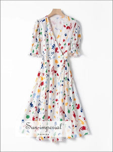 Vintage White with Colorful Splash-ink Print Midi Dress Wrap SUN-IMPERIAL United States