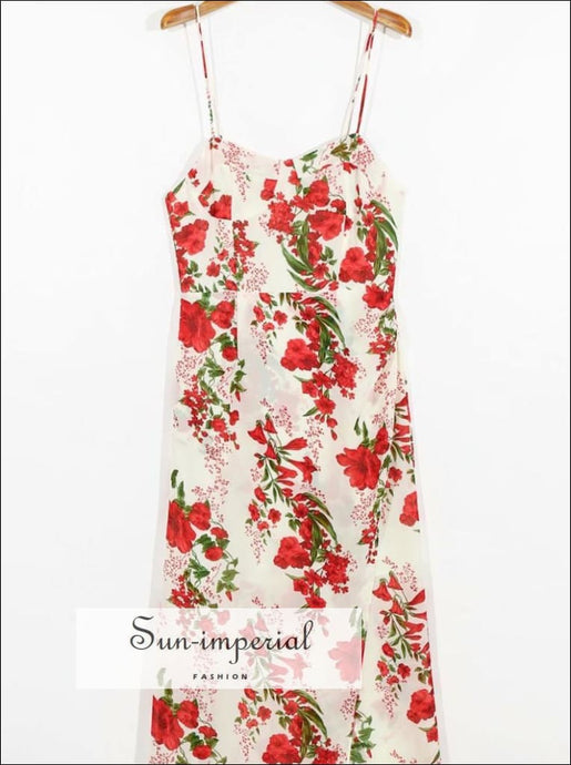 Vintage White with Red Floral Pint side Split Midi Dress Print Cami Strap Summer SUN-IMPERIAL United States