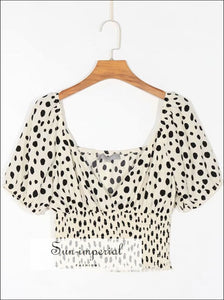 Vintage Women top Short Sleeve Polka Dot Print V Neck Blouse