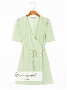 Vintage Wrap Buttoned Green Flower Print Summer A-line Dress
