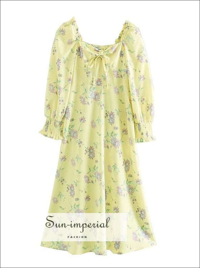Vintage Yellow Floral Print Long Sleeve Sweetheart Neck Tie front Midi Dress
