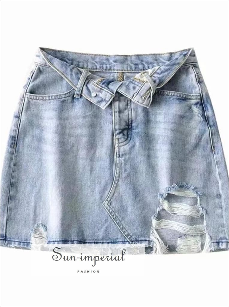 Sun-imperial Wash Blue Partial Button front Distressed Mini Denim Skirt High Street Fashion Skirt, street style, Streetwear SUN-IMPERIAL