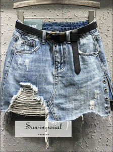 Washed Black/ Blue Belted Ripped Denim Skirt Jeans A-line Mini Skirt