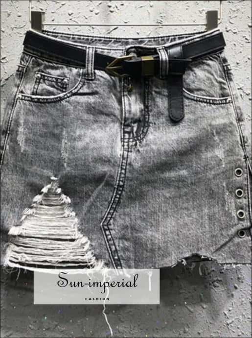 Washed Black/ blue belted Ripped denim skirt jeans a-line mini BASIC SUN-IMPERIAL United States