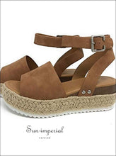 Wedges Shoes for Women High Heels Sandals Summer Outdoor Shoes - Brown