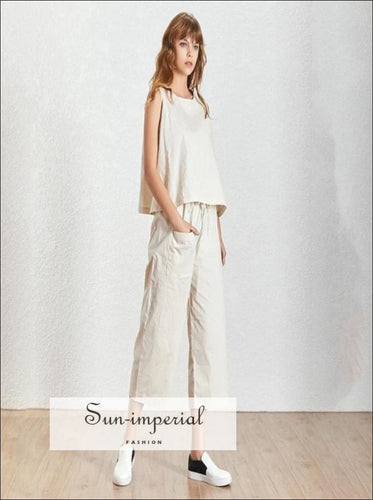 Wendy pants set - 2 Piece pant set Sleeveless Basic oversize top and High Waist tie Pocket 3/4 long Trousers High Waist Long Trousers