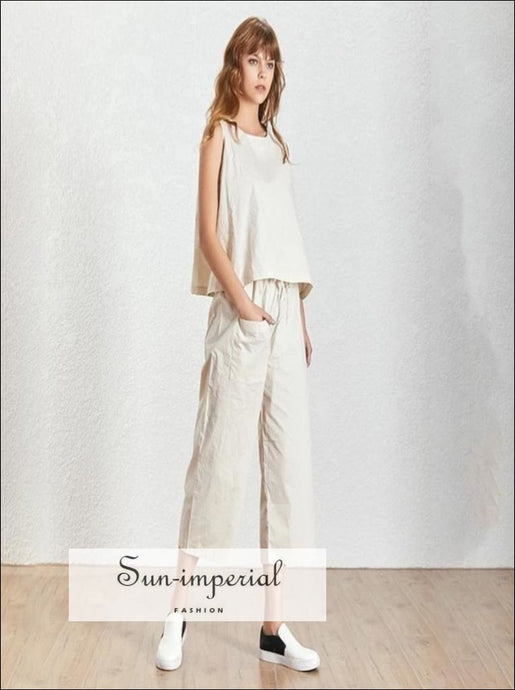 Sun-Imperial Wendy Pants Set - 2 Piece Pant Set Sleeveless Basic Oversize top and High Waist Tie Pocket 3/4 Long