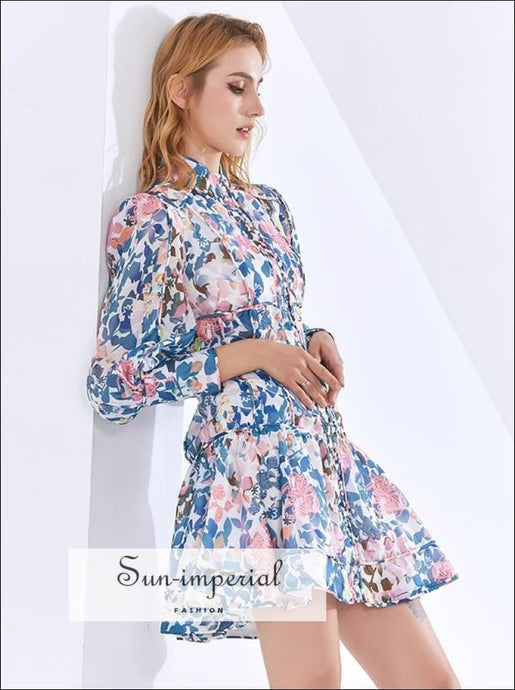 White A-line Long Sleeve Elegant Blue Pink Floral Print Mini Dress with Stand Collar detail elegant style, Unique vintage vintagestyle,