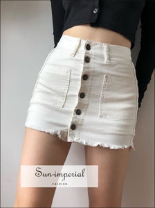 white/ army green Women Mid-rise Waist Buttoned denim Raw-Cut Hem mini skirt ARMY GREEN DENIM MINI SKIRT BUTTONED FRONT DENIM MINI SKIRT