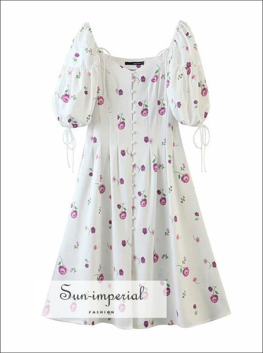 White Chic Short Puff Sleeve Purple Floral Print Vintage Midi Dress with Center Buttons detail chick sexy style, vintage style SUN-IMPERIAL