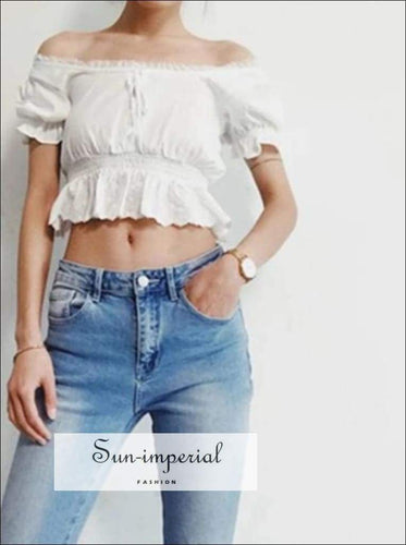 white cropped summer top women blouses off shoulder chiffon ruffle lace blouse SUN-IMPERIAL United States