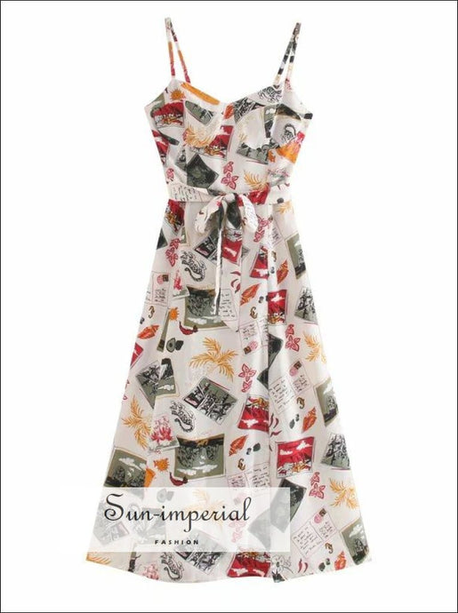 White Crust Bust Graffiti Print Cami Strap Midi Dress SUN-IMPERIAL United States