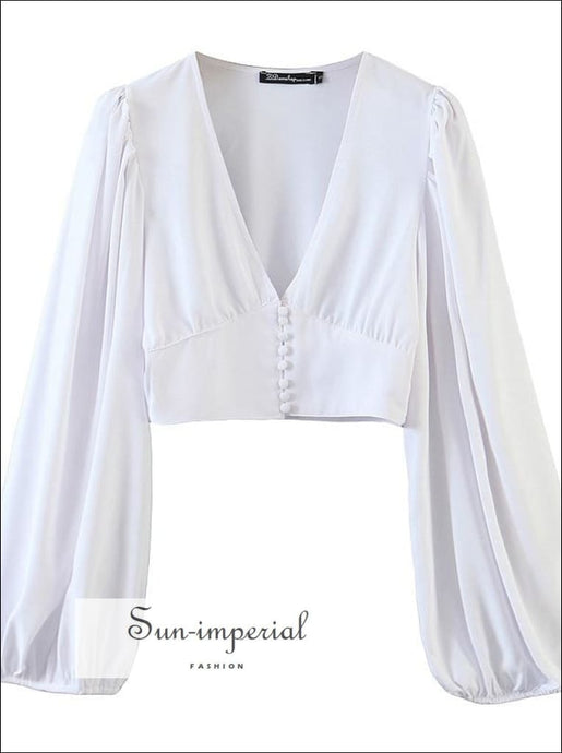 White Deep V Neck Cropped Blouse Lantern Long Sleeve Buttoned Women top SUN-IMPERIAL United States