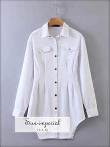 White Denim Long Sleeve Mini Dress Turn Down Collar with side Slits front Buttons and Pockets detail chick sexy style, street wear
