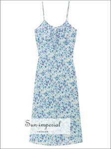 White Dress with Blue Floral Print Silk Sling Midi Cami Strap and Ruched Tie front Bust SUN-IMPERIAL United States