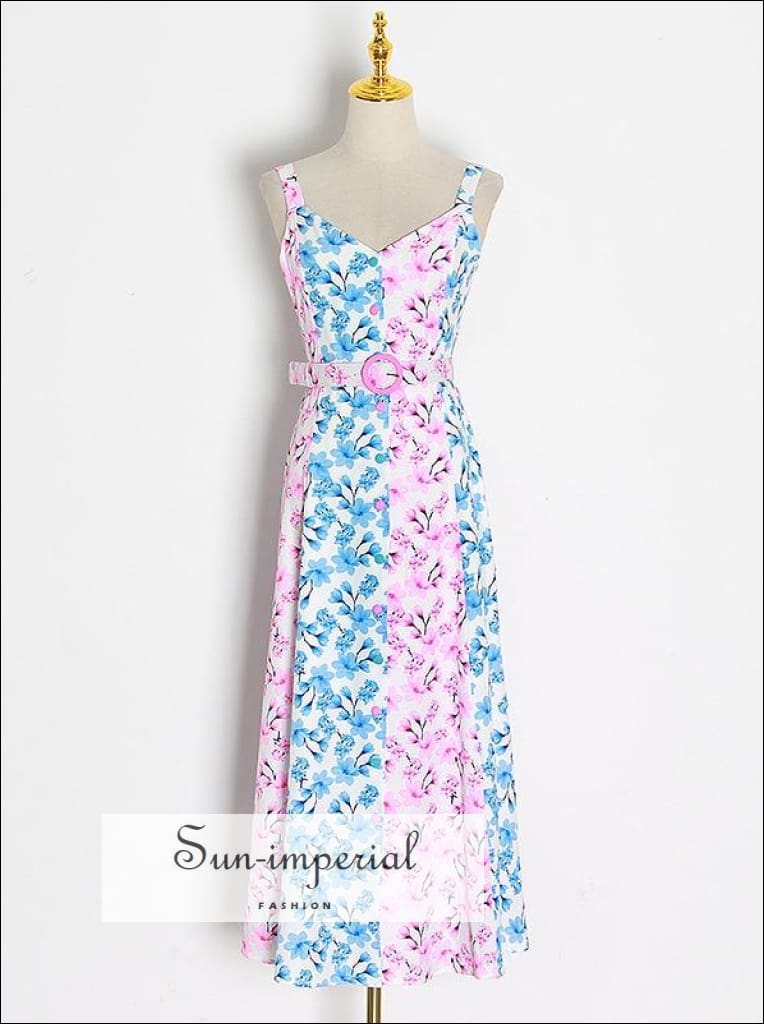 White Elegant Oink Blue Floral Print Midi Dress with Wide Cami Strap and Belt detail elegant style, Unique style SUN-IMPERIAL United States