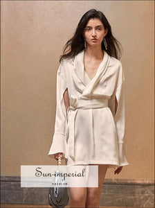 White Elegant Satin Mini Dress Warp Tie Waist with Flare Long Cutoff Sleeve SUN-IMPERIAL United States