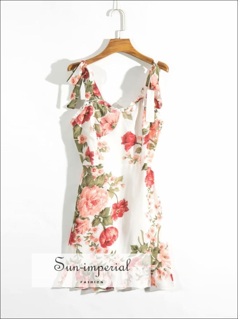 White Floral A-line Vintage Tie Cami Strap Ruffles Decor Mini Dress SUN-IMPERIAL United States