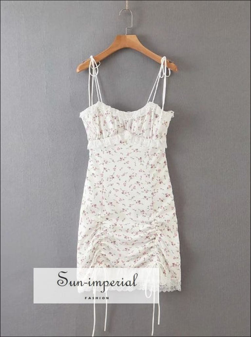 White Floral Print Cami Strap Lace Ruffle detail Sling Mini Short Dress up Ruched Hem Beach Style Print, bodycon dress, boho style, chick