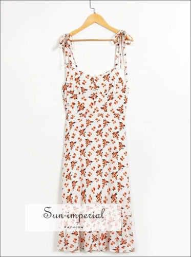 White Floral Print Midi Dress with Tie Cami Strap and Ruffles Edge detail vintage style SUN-IMPERIAL United States