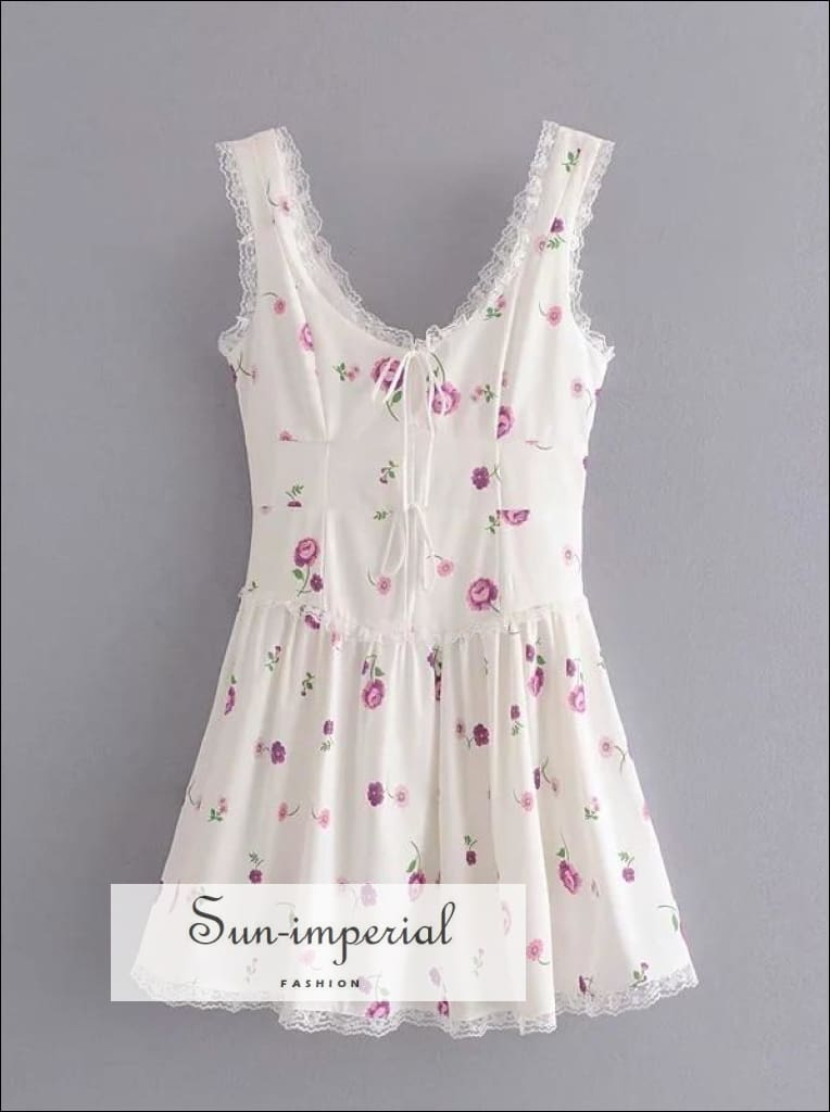 White Floral Print Sleeveless A-line Backless Mini Dress with Square Collar Lace and Bow Tie detail chick sexy style, night out dress, about