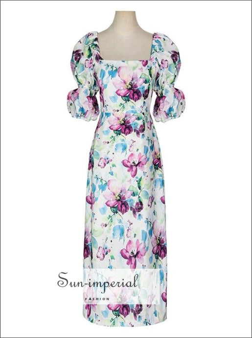 White Floral Print Summer Midi Dress with Square Collar and Puff Short Sleeve elegant style, Unique style SUN-IMPERIAL United States