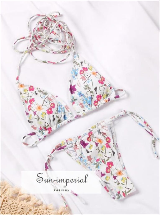 White Floral Wrap around String Triangle Bikini top & side Tie bottom Set SUN-IMPERIAL United States