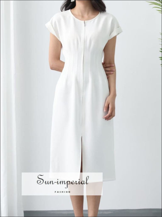 White High Waist Midi Dress with Short Sleeve O-neck front Zipper Elegant SUN-IMPERIAL United States