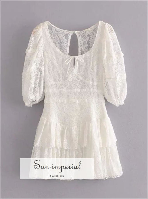 White Lace Floral Embroidery Short Sleeve A-line Backless Mini Dress with Ruffles and Bow Tie detail chick sexy style, night out dress,