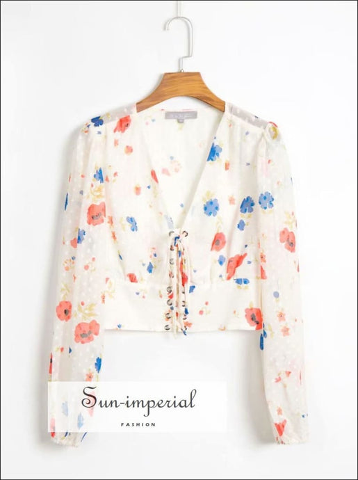 White Long Sleeve Vintage Center Lace up Blouse with Floral Print and Dot detail Women top Unique style, vintage style SUN-IMPERIAL United