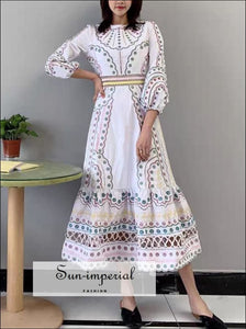 White Midi A-line Embroidery and Dot Printed Long Sleeve O-neck Dress Unique style, vintage style SUN-IMPERIAL United States