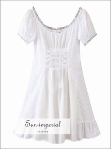 White Milkmade Lace front Dress Short Sleeve SUN-IMPERIAL United States