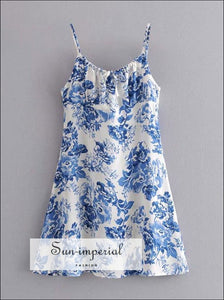 White Mini Blue Floral Cami Strap Slit Dress Vintage Summer SUN-IMPERIAL United States