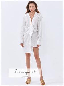 White Mini Shirt Dress with Deep V Neckline Long Sleeve and Cut out front Tie detail Beach Style Print, bohemian style, boho chick sexy CUT