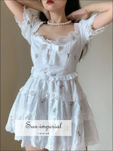 White off Shoulder Floral Embroidery Puff Short Sleeve Mini Dress chick sexy style, night out dress SUN-IMPERIAL United States