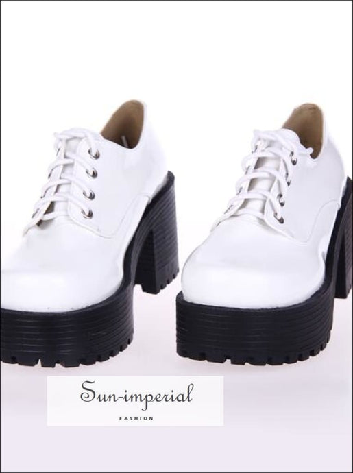 White Punk Lace up Oxfords Vegan Leather with Short Block Heel and Chunky Treaded Soles casual style, harajuku SHOES, Preppy Style Clothes,