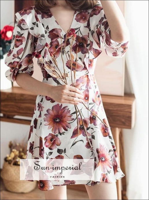 White Red Floral Mini Dress with Short Puff Sleeve V-neck Ruffles detail Bohemian Style, elegant style, harajuku Preppy Style Clothes,