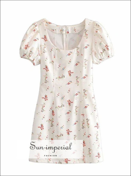White Red Floral Print Mini Dress with Square Collar Short Puff Sleeve Bodycon Party chick sexy style SUN-IMPERIAL United States